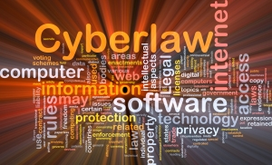 Background concept wordcloud illustration of cyberlaw glowing li
